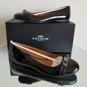 Coach Oswald Black Patent Leather Flat Ballet 8.5